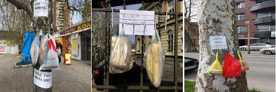 Cibo lasciato a disposizione dalla gente per i più bisognosi nelle strade di Belgrado